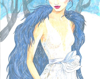 Fashion Illustration winter girl in wedding dress illustration Fashion art Fashion winter girl illustration wedding dress illustration