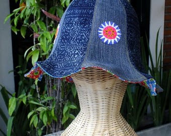 Jeans and Hmong tribes cloth Tulip Hat(8 brim pattern)