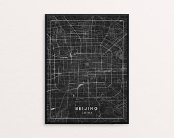 Beijing Black City Map Print, Clean Contemporary poster fit for Ikea frame 24x34 inch, gift art him her, Anniversary personalized travel