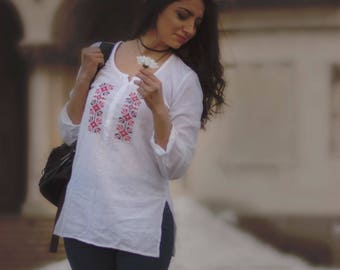 Embroidered Women Shirt with Traditional Bulgarian Symbols