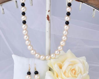 Black and Pearl Necklace and Earrings
