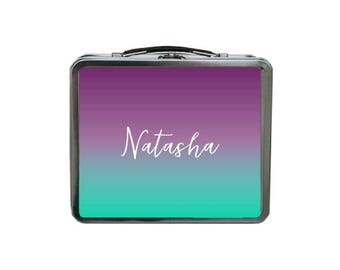 Ombre Lunch Box, Purple Lunch Box, METAL Lunch Box, Custom Lunch Box, Gradient Lunch Box, Mint Lunch Box, TIN Lunch Box, Gift for Co Workers
