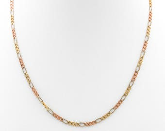 Figaro Chain, Multicolor Chain, Tricolor chain, Figaro, 14K Gold Figaro chain, Gold Chain, Tricolor, Rose Gold, White Gold, Yellow Gold,
