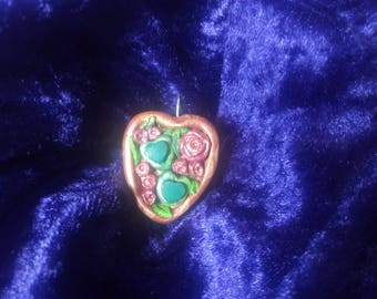 Key ring heart with roses-Hangemacht