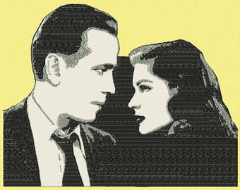 Embroidery  movie stars Humphrey Bogart and Lauren Bacall