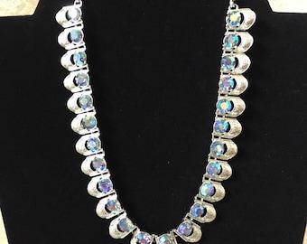 Coro Vintage Necklace Silver Tone Metal with Aurora Borealis Stones