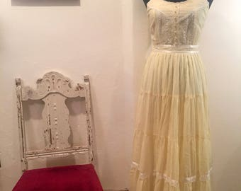 Yellow Gunne Sax Summer Maxi Boho Prairie Dress