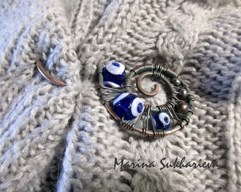 Blue turkish evil eye beaded copper shawl pin Third eye Sweater pin Wire wrap scarf pin Metal & glass brooch Christmas Copper anniversary