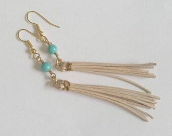 Turquoise Leather Tassle Earrings