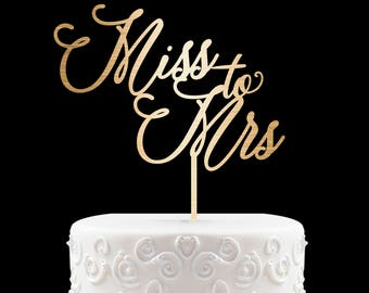 Bridal Shower Cake Topper Customized Wedding Cake Topper, Personalized Cake Topper for Wedding, Miss to Mrs Cake Topper 49