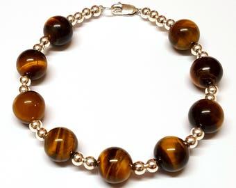 Tiger Eye Bracelet For Men, Tiger Eye Sterling Silver Bracelet, Gemstone Bracelet, Silver Beads, Meditating Bead, Tiger Eye Jewellery