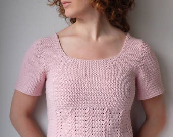 DUTCH PATTERN haakpatroon pdf zomertruitje met siersteek voor dames haken / roze topje of shirt met korte mouwen haken dameskledij patroon