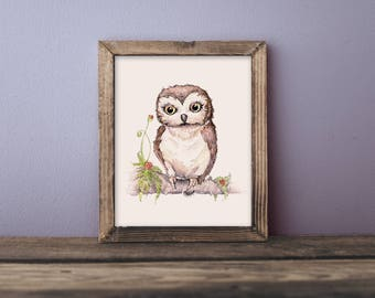 Olive the Owl- children's watercolor print