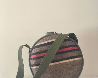Vintage Canteen with Striped Wool Cover and Army Green Strap