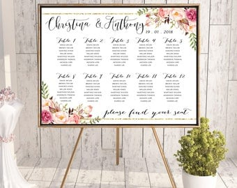 Wedding Seating Chart, Wedding seating template, Navy seating chart, Seating chart, seating chart poster, seating chart alphabet, #127