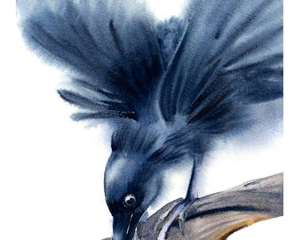Raven watercolor print, Raven painting crow print, Raven art print, Raven wall art, Raven wall decor, Raven gift art, Bird art, raven print