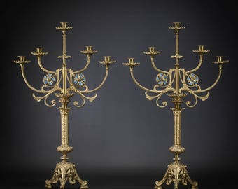 "28"" Pair of Antique Baroque Gilded Bronze 5 tier Arms Candelabras Candle Holders"