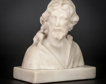 RARE Beautiful Antique Carved Alabaster Jesus Bust Christ Statue Our Lord Figure