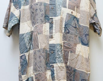 "Rare 90's Vintage ""FRANCO PONTI"" Short-Sleeve  Abstract Patterned Shirt Sz: LARGE (Men's Exclusive)"