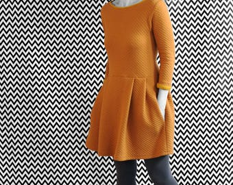 DRESS ORANGE QUILTED / / organic organic fairtrade