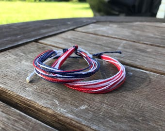 Red White & Blue String Bracelet | Waterproof/Adjustable | 4th of July Bracelet