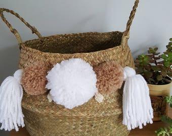 Foldable basket ball Thai - storage Bohemian - ethnic - Willow - tassels - L