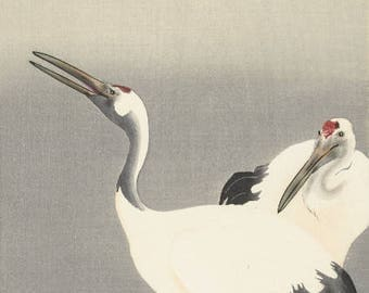 "Japanese Art Print ""Two Cranes"" by Ohara Koson, woodblock print reproduction, fine art, asian art, cultural art, birds"