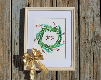 Christmas Print, Joy Wreath