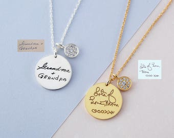 Handwritten Necklace with Button Charm  - Custom Handwriting Necklace - Memorial Handwriting Jewelry - Engraved Necklace with Handwriting
