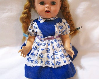 "Vintage IDEAL Saucy Walker Crier Doll 16"" Blond Hair Blue Green Eyes Braids Dress Open Mouth Sleep Eyes 1950s Plastic"