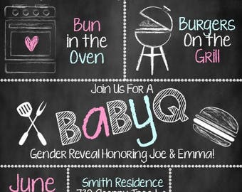 BabyQ Gender Reveal Invitation, BabyQ Invitation, Gender Reveal Invite