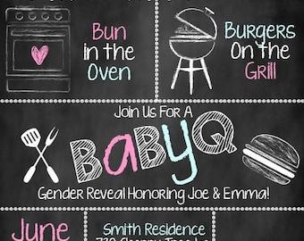 BabyQ Gender Reveal Invitation, BabyQ Invitation, Gender Reveal Invite