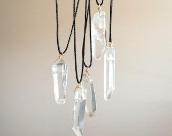 Mens Quartz Necklace Rock Crystal Necklace for Men Quartz Jewelry Healing Crystal Necklace Mens Gift for him Clear Quartz Point for Mens