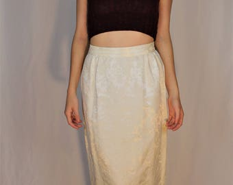 White Silky Embroidered Skirt