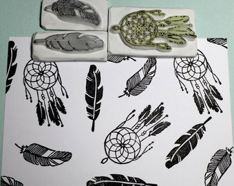 Dream Catcher & Feather Rubber Stamp