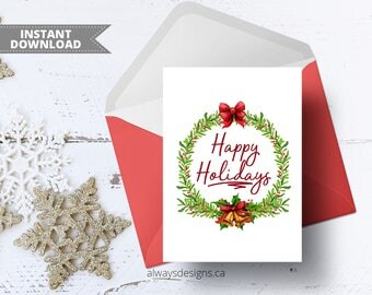 Happy Holidays Card, Printable Card, Holiday Card, Holiday Greeting Card, Christmas Card Digital, Foldable Card, 5x7 Card, Instant Download