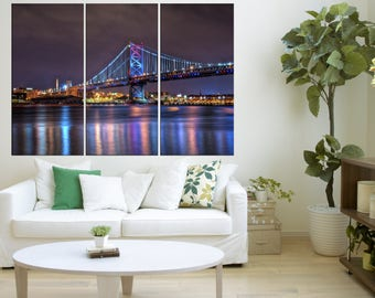 Philadelphia skyline Ben Franklin bridge wall art, Large canvas prints framed, home decor gift, 3 pieces Philadelphia skyline art , s128