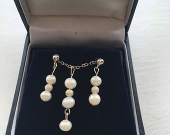 Pearl and Sterling Silver Earrings and Necklace