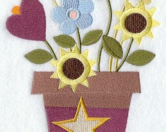American Folk Flowers Pot, Embroidered Dish Towel, Floral Tea Towel, Housewarming Gift, Kitchen Towel