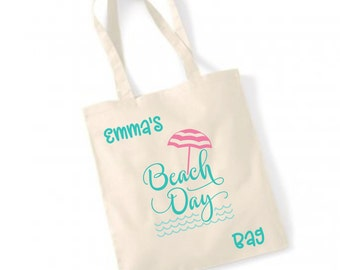Personalised Beach Day Bag, Custom beach bag, personalised bag, Holiday bag, personalised shopper,Personalised beach bag