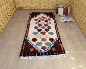 "Moroccan Rugs : Boucherouite Rugs, Boy Woodland Nursery Rug, Berber Area Rug Decorations, Bedroom Woven Rug, Small Bohemian Rug 6'4"" x 2'5"""
