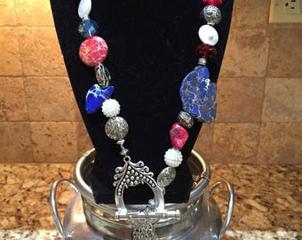 Red white and blue stone and gem beaded necklace