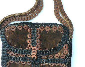 Vintage leather loop bag with fur // leather boho bag // 1960's 100% leather bohemian handbag