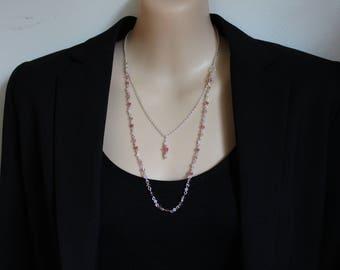 Pink Swarowski 2 strand Necklace