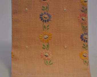 1950's Salmon Linen Embroidered Hand Towel