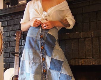 1970's Handmade Denim Patchwork Skirt