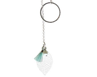 Tie leaf and blue tassel necklace
