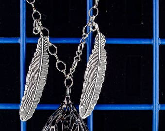 Feather and Crystal Drop Necklace crystal filled tear drop silver feathers silver necklace statement necklace