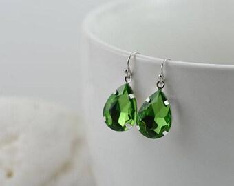 Green Crystal Earrings Green Teardrop Earrings, Silver Drop Earrings Bridesmaids Earrings, Crystal Drop Dangle Earrings Green Jewellery
