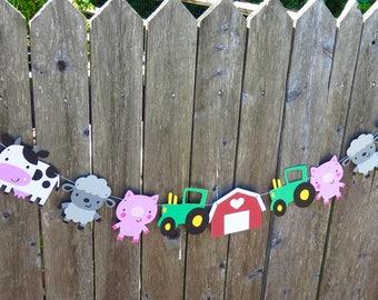 Farm Garland, Animal Garland, Farm Animal Garland, Farm Birthday, Tractor Birthday, First Birthday, Animal Banner, Barn Animals, Baby Shower